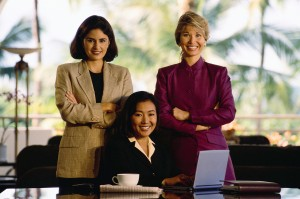 Three Smiling Businesswomen