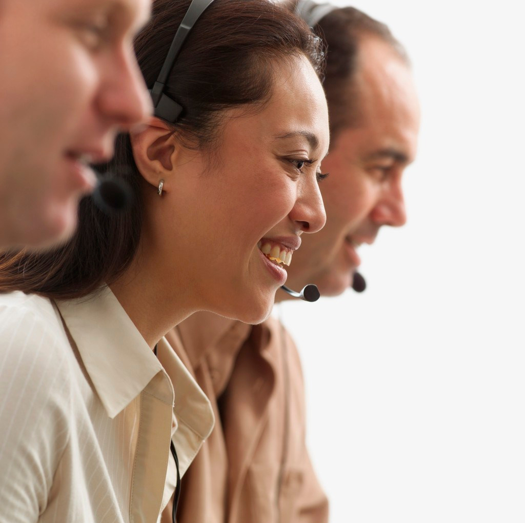 Customer Service People Wearing Telephone Headset