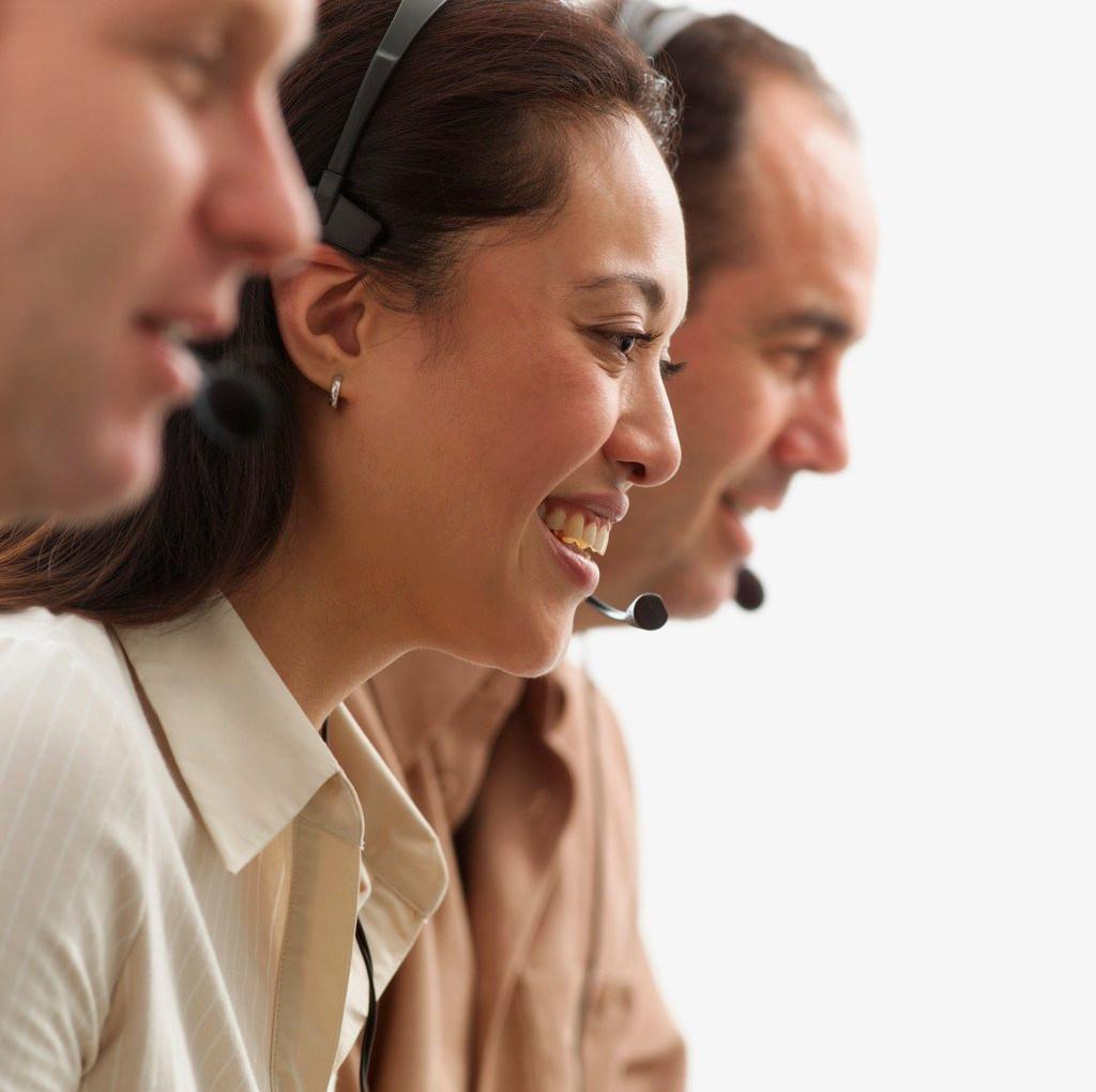 Customer Service People Wearing Telephone Headset